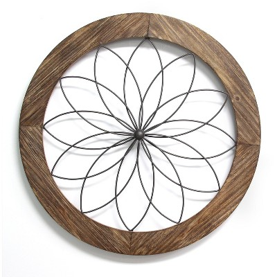 Stratton Home Decor S11570 Round Metal Natural Wood Medallion Wall Art, Brown