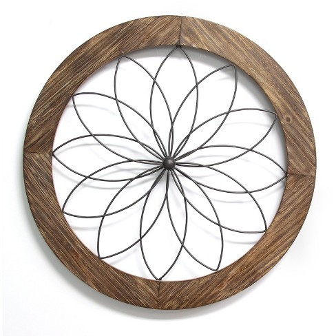 Stratton Home Decor S11570 Round Metal Natural Wood Medallion Wall Art Brown Target