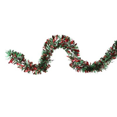 "Northlight 12' x 4"" Unlit Shiny Red/Green Tinsel Christmas Garland"