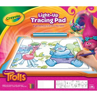 Crayola Trolls Light-Up Tracing Pad with 12 Colored Pencils