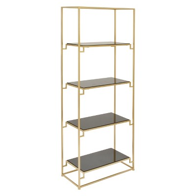 """63"""" Metal and Glass 4 Tiered Book Shelf Gold - Olivia & May"""