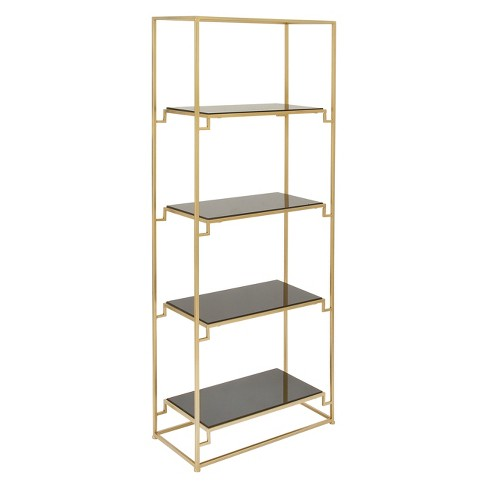 """63"""" Metal and Glass 4 Tiered Book Shelf Gold - Olivia & May - image 1 of 4"""