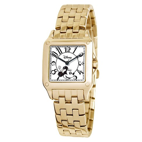 Women's Disney® Minnie Mouse Perfect Square Watch - Gold - image 1 of 2