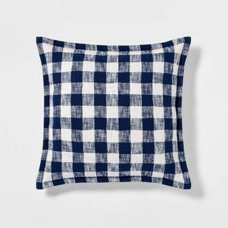 Euro Woven Check Throw Pillow Blue - Threshold™
