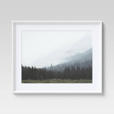 "24"" x 30"" Foggy Tree Landscape Framed Wall Art - Threshold™"