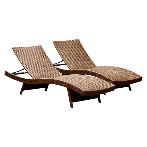 Manchester Outdoor Adjustable Brown Wicker Chaise Lounge (Set of 2) - image 1 of 2