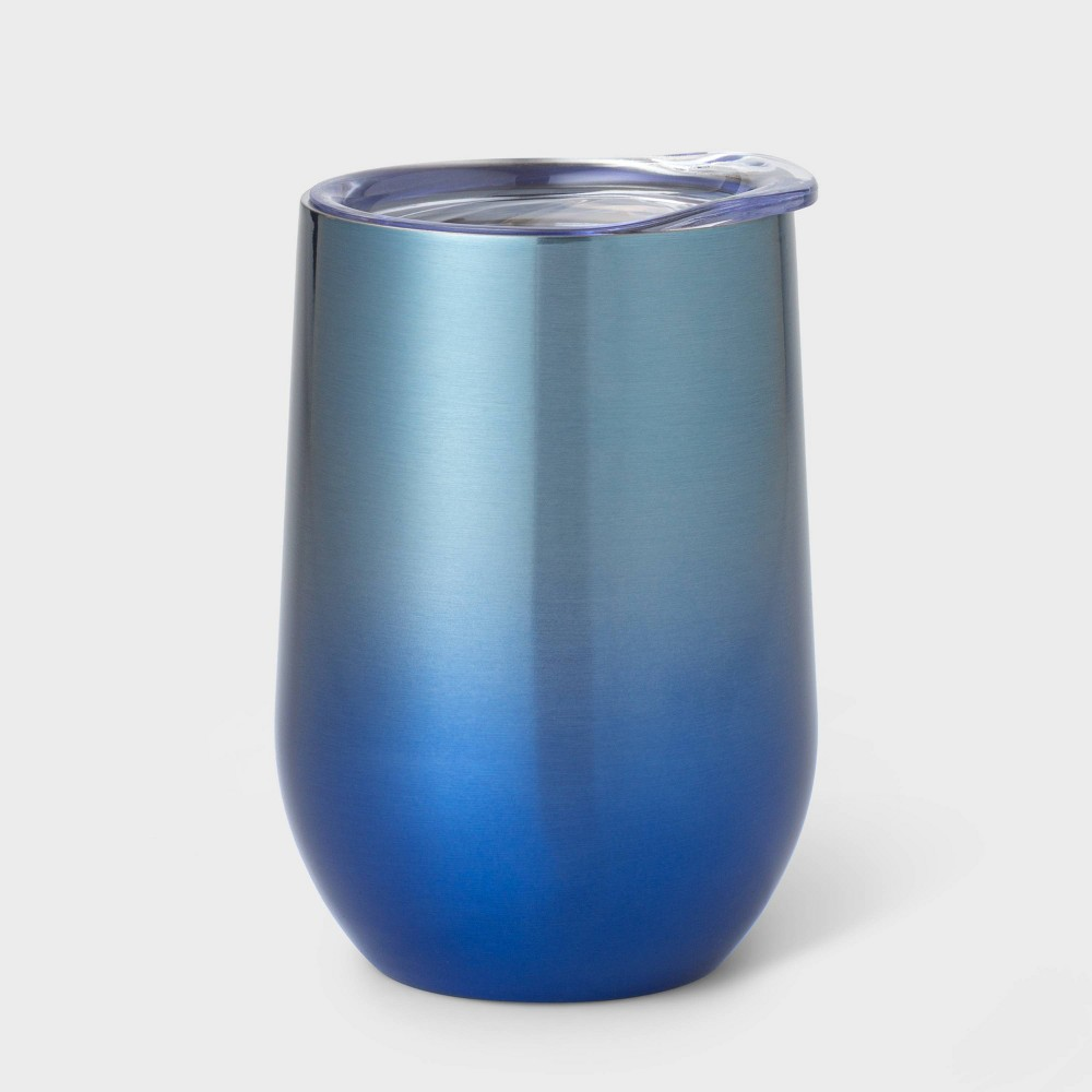 Image of 11oz Double Wall Stainless Steel Vacuum Wine Tumbler with Lid Blue Ombre - Room Essentials