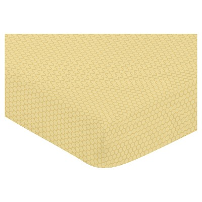Sweet Jojo Designs Honey Bee Fitted Crib Sheet - Honeycomb Print