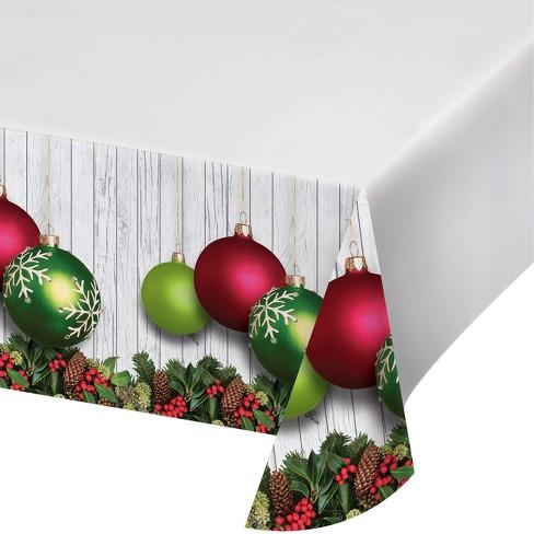 christmas ornaments plastic tablecloth