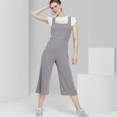 346b87fad65 Women s Strappy Square Neck Rib Knit Jumpsuit - Wild Fable™ Gray   Target
