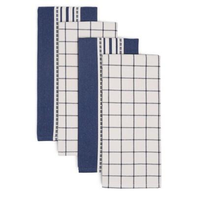 4pk Cotton Bistro Kitchen Towel Set Blue - Town & Country Living