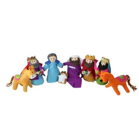 "Raz Imports 8-Piece Bohemian Multicolor Plush Christmas Nativity Set 5.5""-1"" - image 1 of 1"