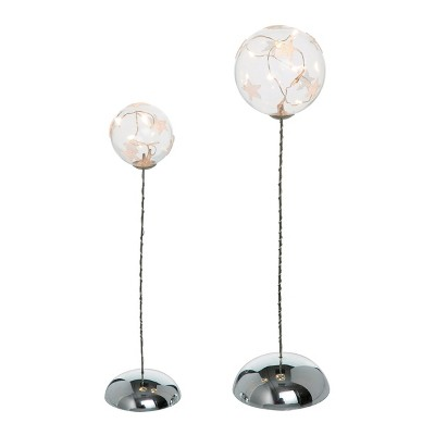 Transpac Glass 12 in. Clear Christmas Light Up Star Orbs Set of 2