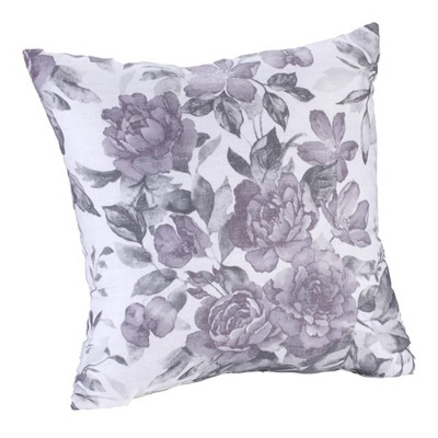 Lakeside Purple Meadow Cotton Decorative Pillow with All-Over Floral Motif