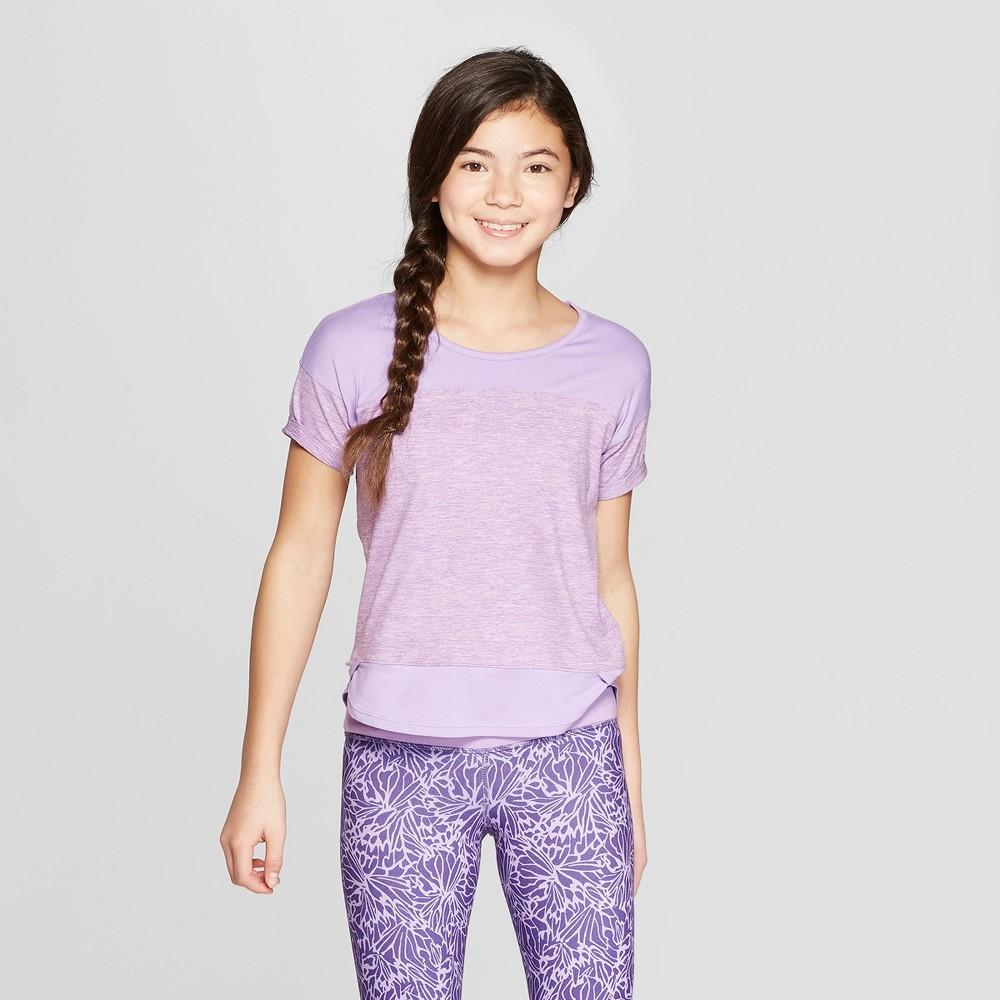 Girls' Color Block Super Soft Tech T-Shirt - C9 Champion Purple L