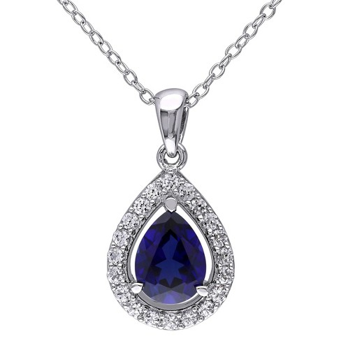 2 1/5 CT. T.W. Created Blue and White Sapphire Teardrop Pendant in Sterling Silver - Blue - image 1 of 2