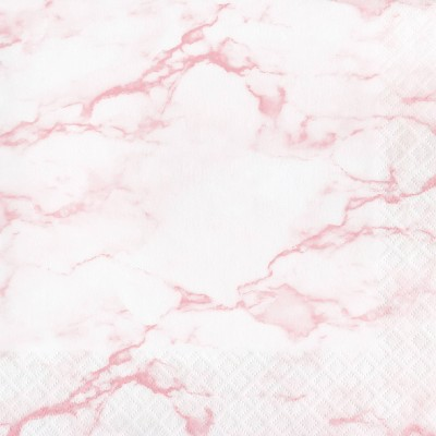 48ct Marble Disposable Napkins Pink