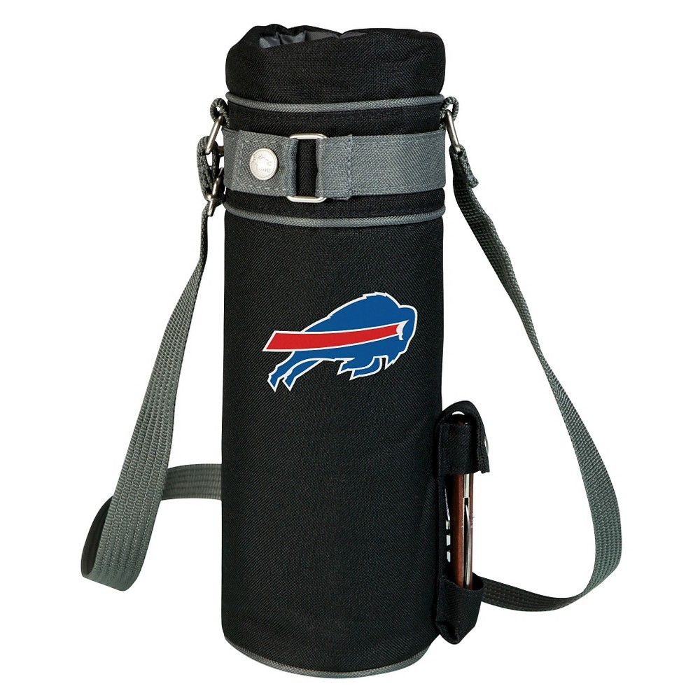 Buffalo Bills - Wine Sack Beverage Tote by Picnic Time (Black) Those who enjoy wine will appreciate the style and simplicity of the Wine Sack, an insulated single-bottle tote with an adjustable shoulder strap. It features a stainless steel waiter-style corkscrew conveniently stored in its own secure pocket. The Wine Sack is made of polyester canvas with complementing brown trim. The tote is fully-insulated to keep your wine at the perfect temperature until you're ready to uncork it. Perfect for any occasion. When you'd like to bring your own wine to share, let the Wine Sack help you take it there! Color: Buffalo Bills.