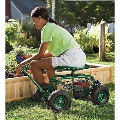 Plow & Hearth - Scoot-N-Do Rolling Garden Seat - Gardening Wagon
