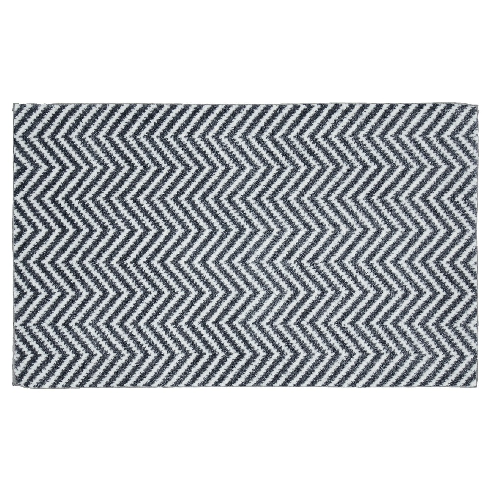 "Image of ""21""""x34"""" Palazzo Bath Rug Cinder Gray/White - Garland Rug"""
