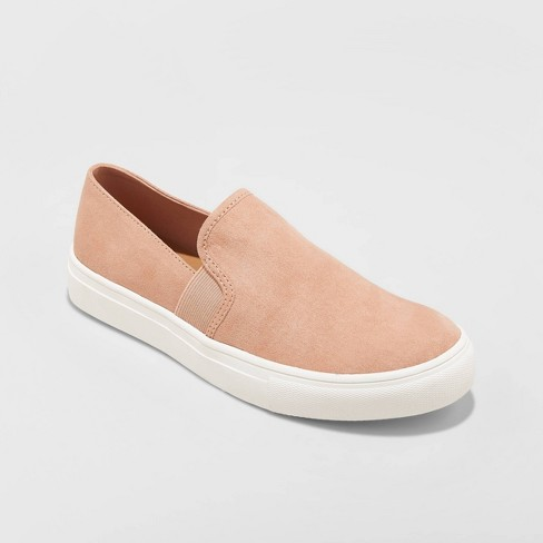 Women's Rose Microsuede Slip On Twin Gore Sneakers - Universal Thread™ Blush - image 1 of 3