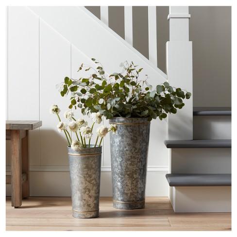 Galvanized Metal Vase With Flower Frogger Medium Hearth Hand