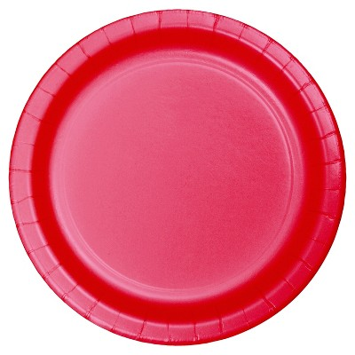 "9"" Round 60ct Disposable Dinner Plate Red - Spritz™"