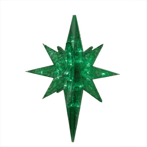 "PENN 19"" LED Lighted Green Twinkling 3D Bethlehem Star Hanging Christmas Decoration - image 1 of 2"