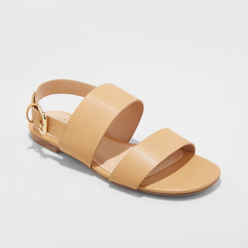 Women's Sabrina Two Band Buckle Slide Sandals - A New Day Tan 8.5