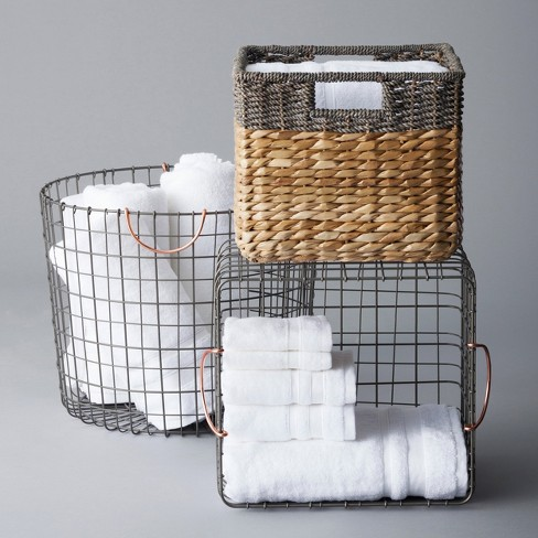 Small Milk Crate Wire Basket Antique Pewter With Copper Colored Handles Threshold Target