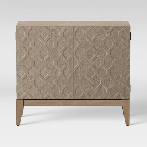Alliaria Carved Front 2 Door Cabinet Wood - Opalhouse™ - image 1 of 4