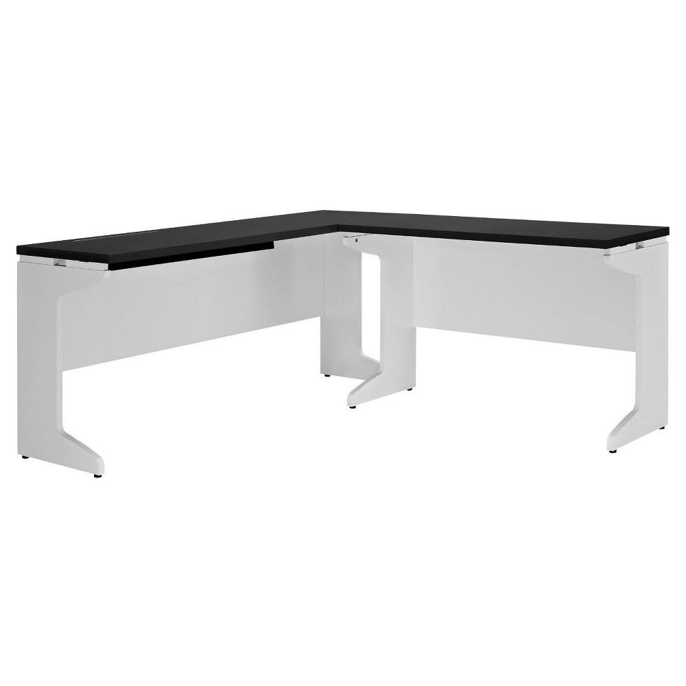 Pursuit L-Shaped Desk Bundle - White/Gray - Ameriwood Home