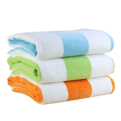 3pk Reversible Cabana Beach Towel Set Featuring Intellifresh Technology - Freshee