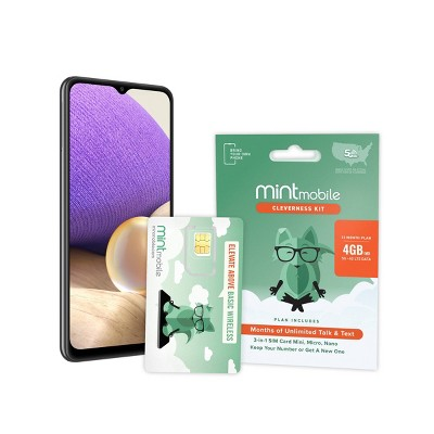 Mint Mobile Samsung A32 5G 1-Year Service SIM Bundle