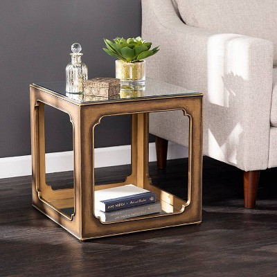 Alfristan Mirrored Square Accent Table Brass - Aiden Lane