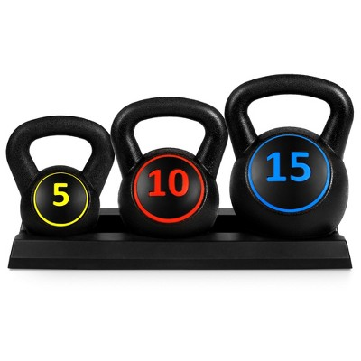Best Choice Products 3-Piece Kettlebell Set with Storage Rack, Exercise Fitness  Concrete Weights 5lb, 10lb, 15lb
