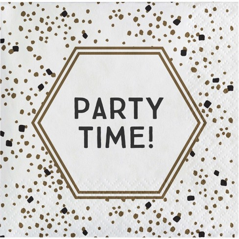 """Party Time"" Disposable Printed Beverage Napkin Gold - Spritz™ - image 1 of 1"