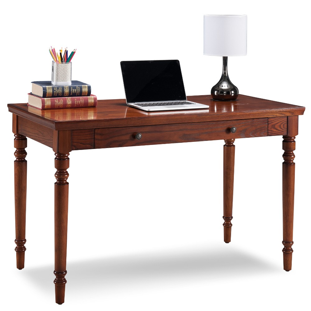 Farmhouse Desk with Center Drawer Oak (Brown) - Leick Home