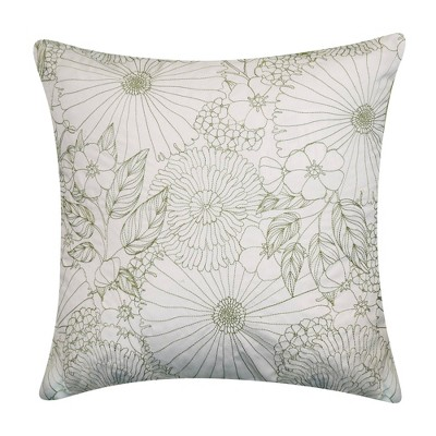 """18"""" x 18"""" Fine Line Embroidered Floral Decorative Patio Throw Pillow - Edie@Home"""