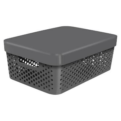 Room Essentials™ Storage Half Bin- Perforated Gray