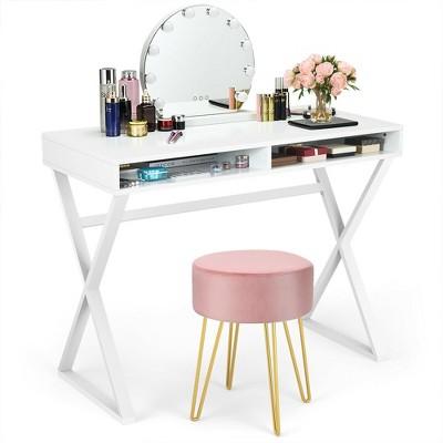 Costway Vanity Table Set Writing Desk Makeup Table w/Round Velvet Ottoman Pink