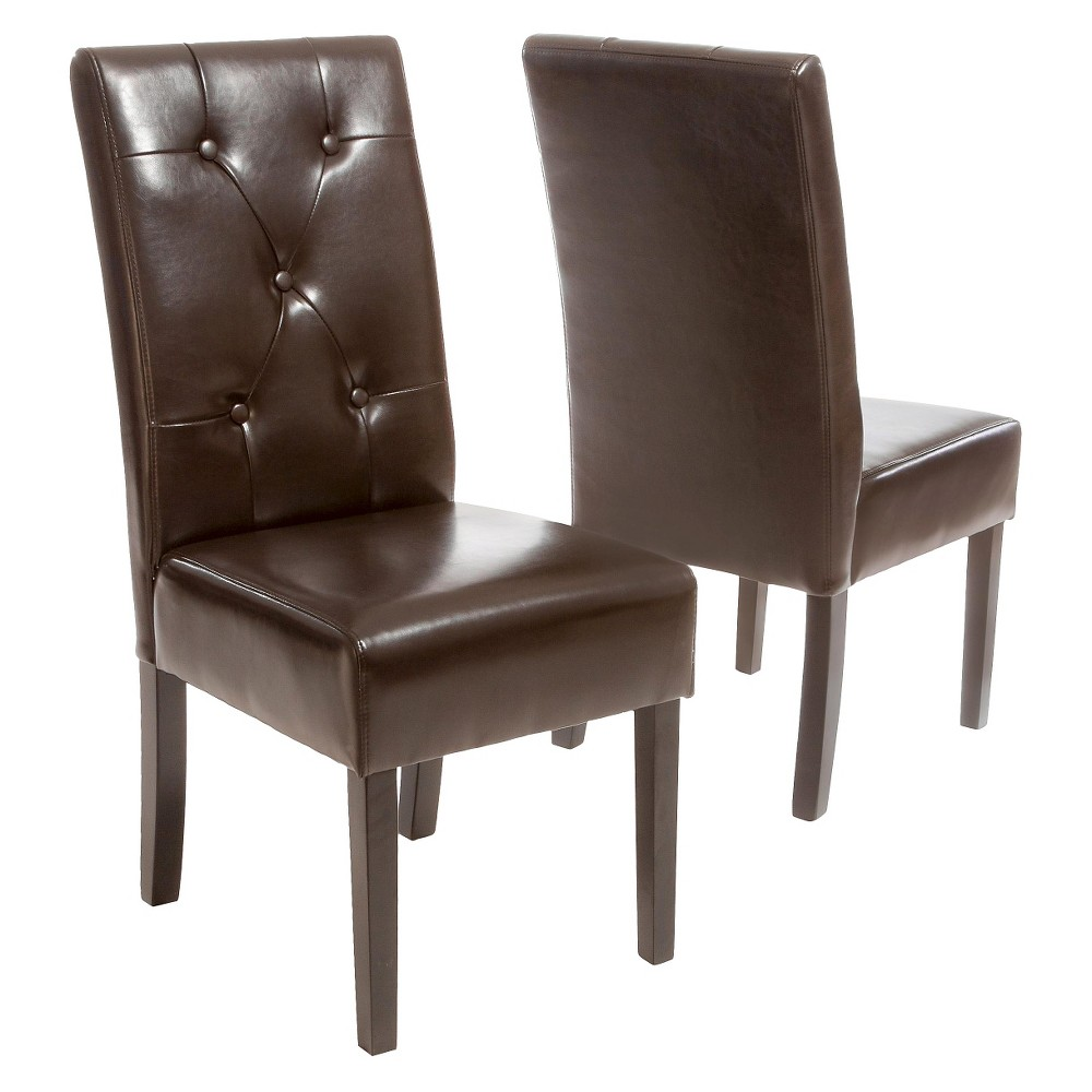 Taylor Bonded Leather Dining Chairs - Chocolate Brown (Set of 2) - Christopher Knight Home