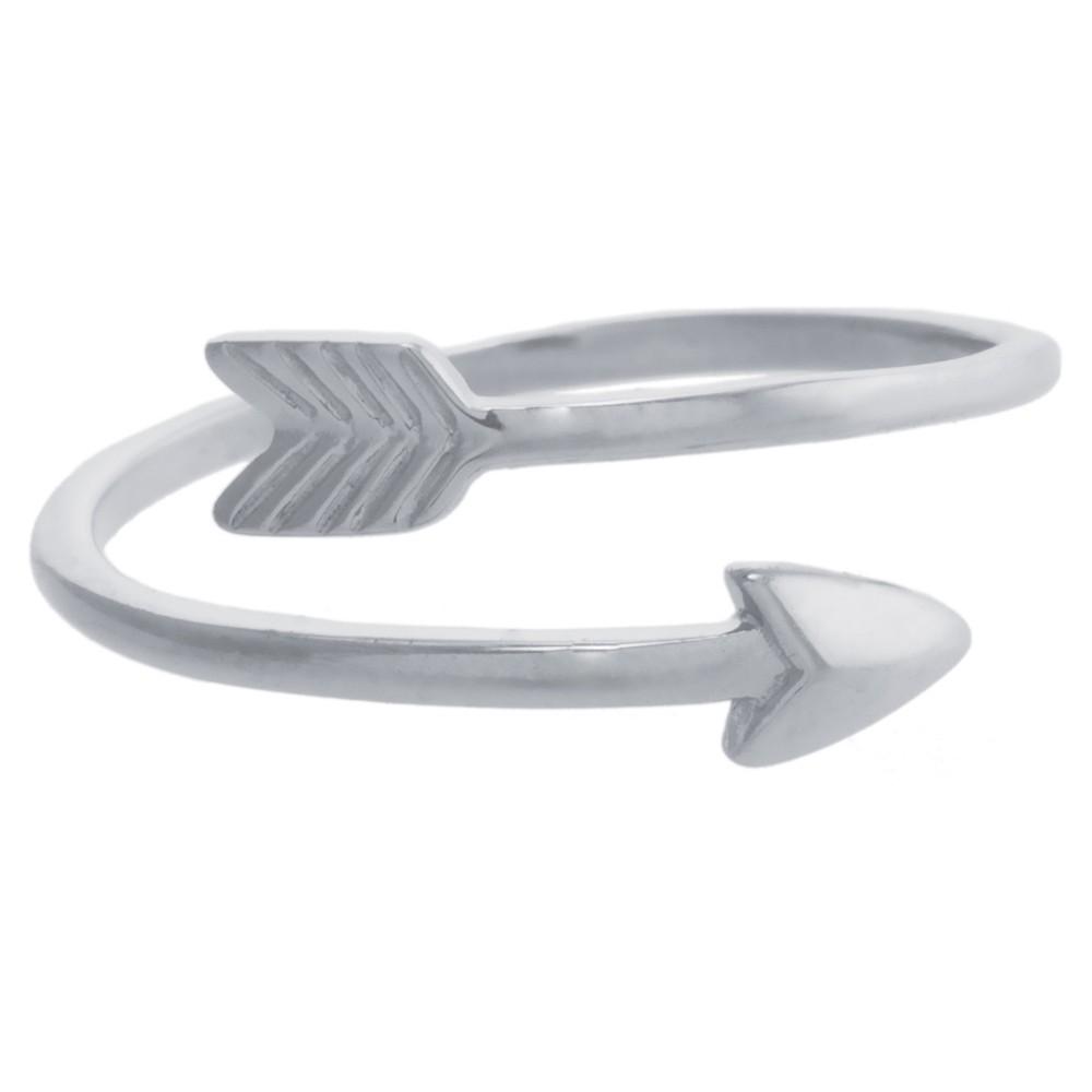 Women's Sterling Silver Open Arrow Ring - Size 6, Pink