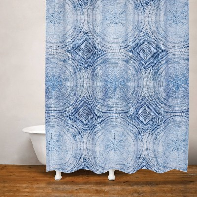 Tree Rings Shower Curtain Blue - Moda at Home