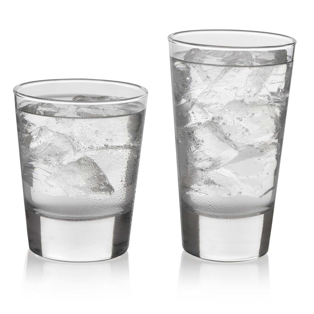 Libbey Geo Glass 16pc Drinkware Set, Clear