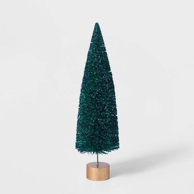 12in Bottle Brush Tree with Gold Base Decorative Figurine - Wondershop™
