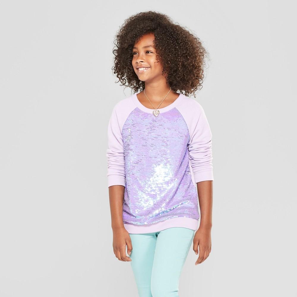 Girls' Flip Sequins Pullover - Cat & Jack Light Purple XS