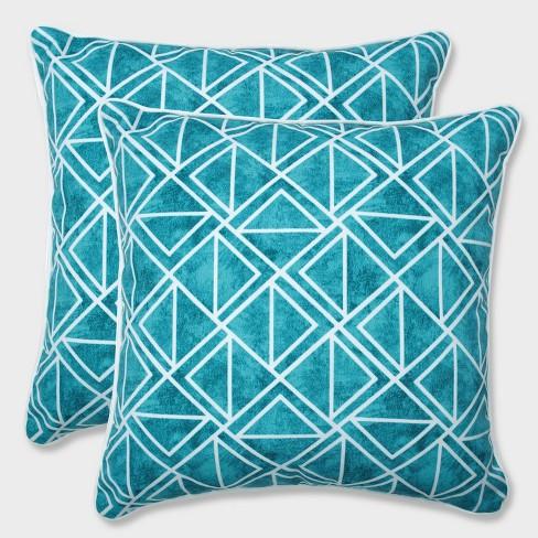 "18.5"" 2pk Lanova Peacock Throw Pillows Blue - Pillow Perfect - image 1 of 2"