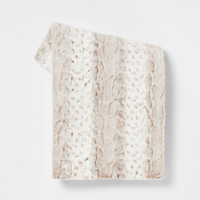Snow Leopard Faux Fur Ombre Throw Blanket Neutral - Threshold™