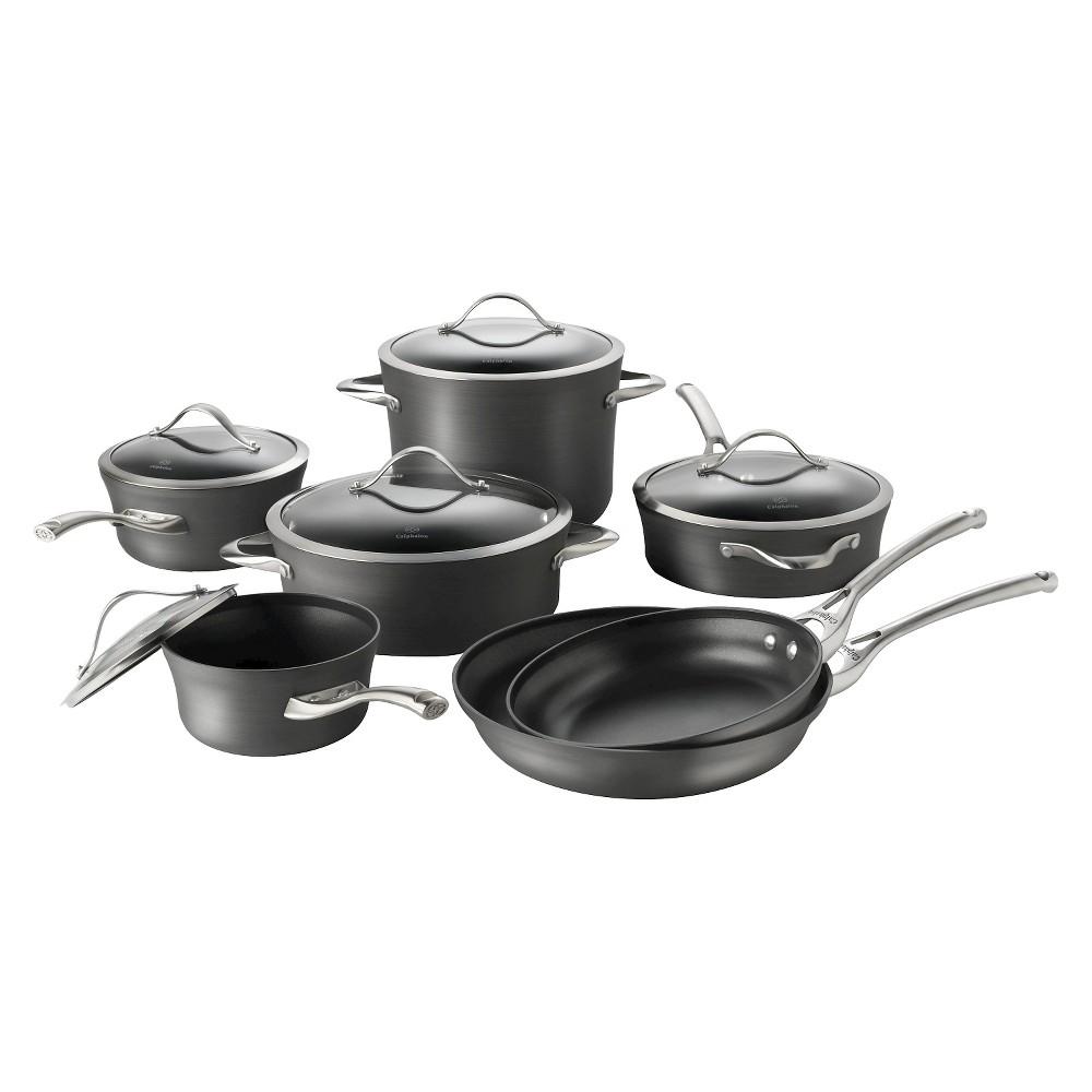 Image of Calphalon Contemporary 12 Piece Non-stick Dishwasher Safe Cookware Set, Gray